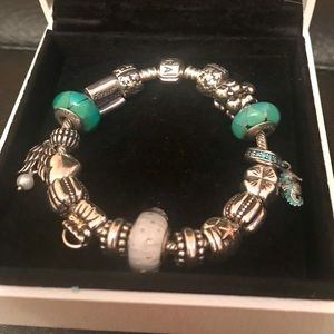 Pandora Silver Bracelet w 17 Silver & Blue Charms